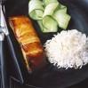 Miso Marinated Salmon~Served On Cucumber Salad