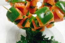Salmon and capsicum skewers