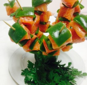 Salmon and capsicum skewers